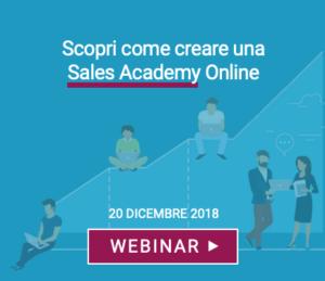 webinar creare sales academy online